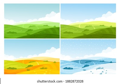 Nature field landscape in four seasons vector illustration set. Cartoon summer spring autumn winter scenes with green grassland meadow, blue snow hills, yellow wild fields, panorama scenery background