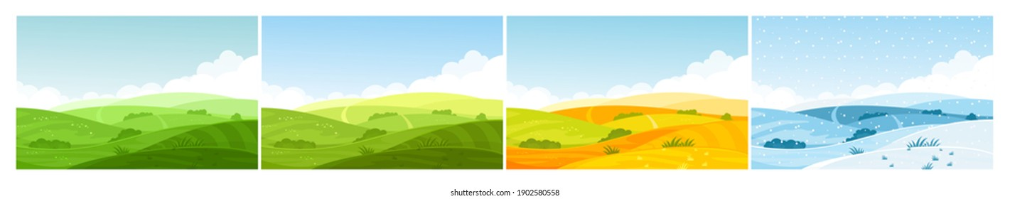 Nature field landscape in four seasons. Cartoon summer spring autumn winter scenes with green grassland meadow, blue snow hills, yellow wild fields, panorama scenery background