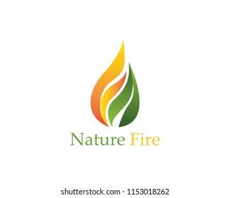 Nature fire logo vector concept