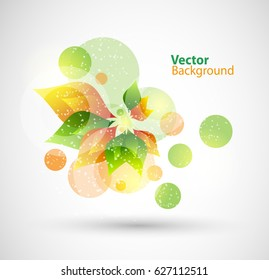 Nature floral abstract vector background with green and orange leaves. Vector eps 10