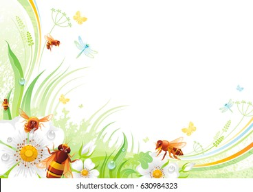 Nature flower background. Spring summer season floral pattern. Mothers day, Birthday, Wedding. White Rose hip, grass, leaf, flying honey bee, grunge isolated vector illustration. Happy greeting card