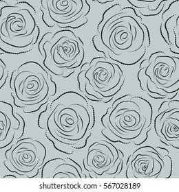 Nature flowers vector seamless pattern on a gray background.