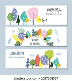 Nature and forest banners set with trees and flowers, vector graphic illustration