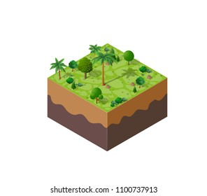 Nature forest landscape of isometric illustration with green tree, palm, grass, stone, for game design.