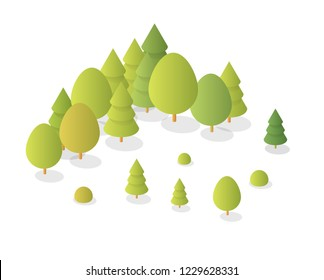 Nature forest landscape of isometric illustration with green tree and grass for game design