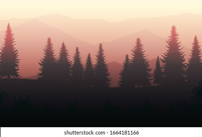 Nature forest Natural Pine forest mountains horizon Landscape wallpaper Sunrise and sunset Illustration vector style colorful view background