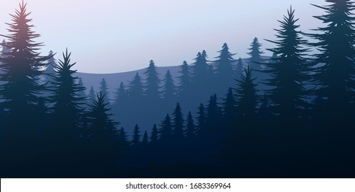 Nature forest Natural Pine forest mountains horizon. Landscape wallpaper. Sunrise and sunset. Illustration vector style colorful view background.
