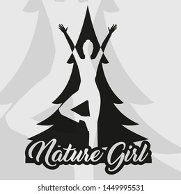 Nature Girl standing in front of a tree