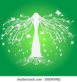 Nature and girl. Vector logo