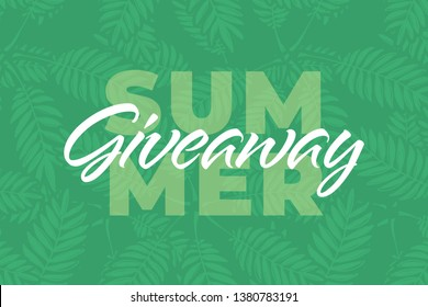 "Nature giveaway vector illustration for like or repost advertising in social network. ""Summer giveaway"" text on banner of present giving for business. Fern leaves isolated on green background."