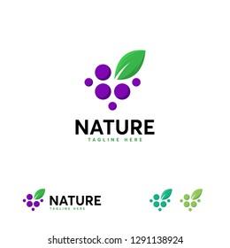 Nature Grape logo designs, Pure Grape logo designs template, Great Grape logo template