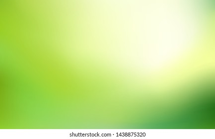Nature Green blurred background. Abstract gradient with light backdrop. Vector illustration. Ecology concept for your graphic design, banner, poster, wallpapers