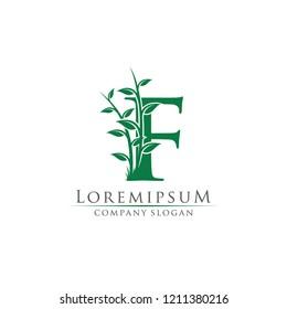 Nature Green Leaf F Letter Logo