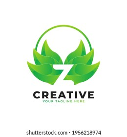 Nature Green Leaf Letter Z Logo with Circle. monogram logo. Alphabet Icon. Usable for Business, Science, Healthcare, Medical and Nature Logos.