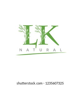 Nature Green Leaf LK Letter Logo