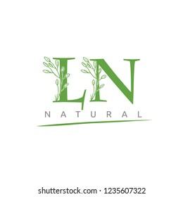 Nature Green Leaf LN Letter Logo