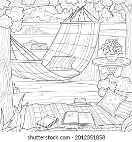 Nature and hammock. Rest zone.Coloring book antistress for children and adults.Zen-tangle style. Black and white drawing.Hand drawn