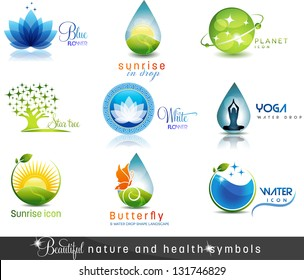 Nature and health care symbols. Beautiful concepts on nature and health theme. Can be used as company symbols or other purposes. The feeling of calmness and purity.
