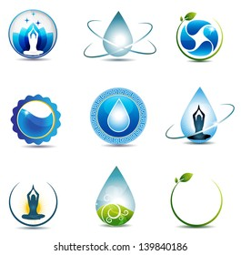Nature and health care symbols. Isolated on a white background. Clean and bright design.