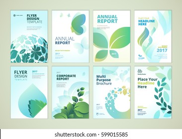 Nature and healthcare brochure cover design and flyer layout templates collection. Vector illustrations for marketing material, ads and magazine, product presentation templates.