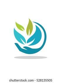 Nature Helping Hand, Organic Logo,  nature Care Logo