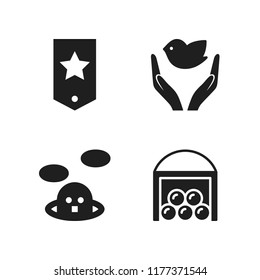 nature icon. 4 nature vector icons set. chevron, dove of peace and barn icons for web and design about nature theme