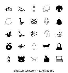 Nature icon. collection of 25 nature filled and outline icons such as pig, goose, apple, love bird, tree, horse, cangaroo, butterfly. editable nature icons for web and mobile.