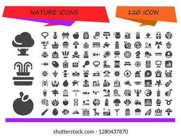nature icon set. 120 filled nature icons. Simple modern icons about  - Tree, Apple, Fountain, Collar, Plant, Buck, Charcoal, Kite, Juice, Tofu, Sleeping bag, Cactus, Nunchaku