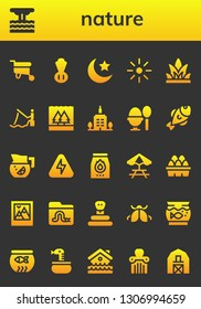 nature icon set. 26 filled nature icons.  Simple modern icons about  - Wheelbarrow, Eruption, Chives, Night, Brightness, Grass, Fishing, Flood, Skyscrapper, Boiled egg, Fish, Lemonade