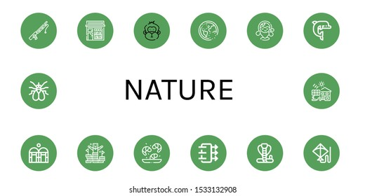 nature icon set. Collection of Fishing rod, Book shop, Monkey, Ozone, Beach, Dolphin, Greenhouse, Peak, Shrimp, Air quality, Cobra, Kite, Fly, Solar cell icons