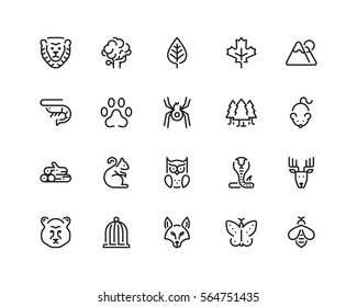 Nature icon set, outline style