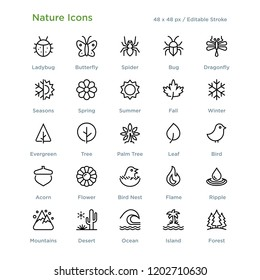 Nature Icons - Outline styled icons, designed to 48 x 48 pixel grid. Editable stroke.