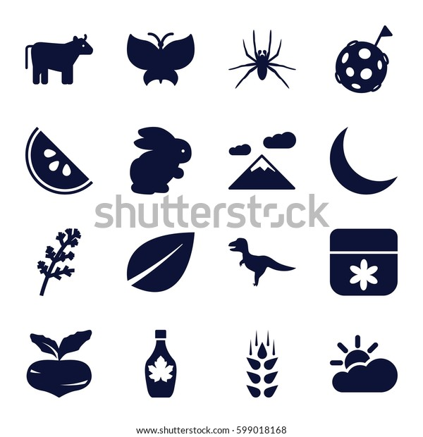nature icons set. Set of 16 nature filled icons such as wheat, cow, rabbit, beet, deel, spider, flower, leaf, maple syrup, crescent, watermelon, sun cloud, butterfly