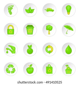 Nature icons set in cartoon style. Ecology, eco set collection vector illustration