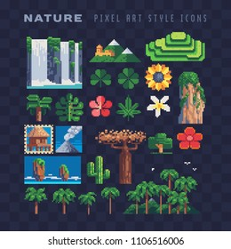 Nature icons set. Waterfall landscape, baobab tree, terraced rice fields and paradise island isolated vector pixel art 80s style illustration. 8-bit sprite. Design for stickers, logo, app, embroidery.