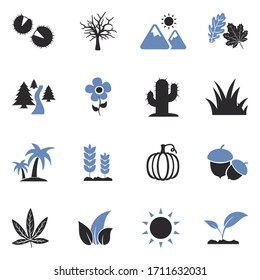 Nature Icons. Two Tone Flat Design. Vector Illustration.