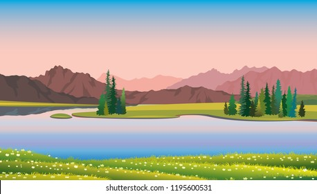 Nature illustration. Summer vector landscape with green forest, calm lake, blooming flowers and pink mountains on a sunset sky.