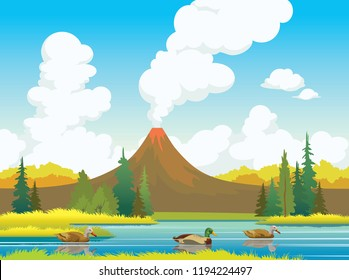 Nature illustration with three ducks, calm blue lake, autumn forest and active volcano. Animal wildlife. Vector autumn landscape.