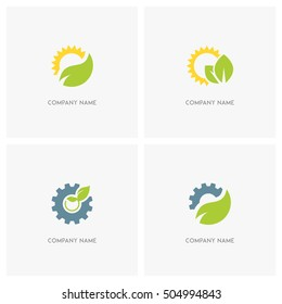 Nature, industry and ecology vector logo. The sun with leaves, gear wheel with the sprout and pinion with green fresh leaf - technology, environment and eco icons.