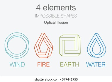 Nature infographic elements on dark background. Impossible shapes and optical illusion. Line symbols with air, fire, earth,water. Alternative energy sources and eco logo