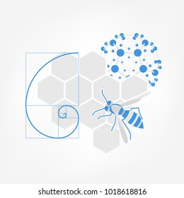 Nature inspiration icon. Vector illustration of honeycombs, bee, fibonacci spiral and fullerene molecule