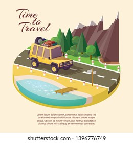 nature isometric style icon yellow car SUV for traveling with elements for tourism on the roof rest in the fresh air in the mountains or the forest, time to travel, banner isometric style, place text