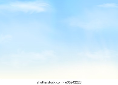 Nature Landscape Background with Blue sky and Fluffy white Realistic clouds. Vector illustration.