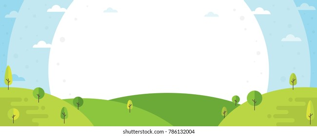 Nature landscape background. Cute flat design with trees. Summer landscape illustration.