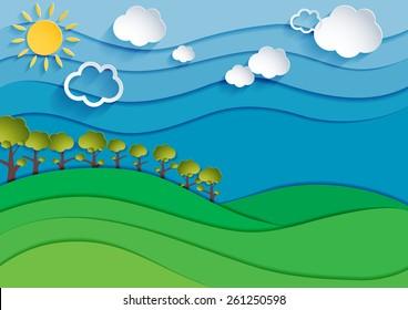 Nature landscape background. Cuted paper design. Vector eps10.