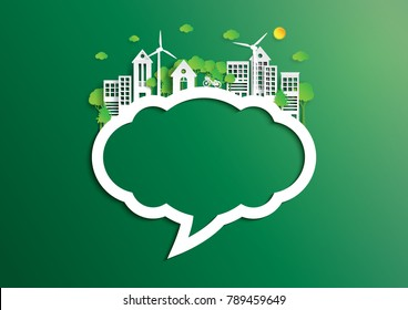 Nature landscape background of paper art style.Speech bubble of green eco friendly city and renewable energy of environment conservation concept.Vector illustration.