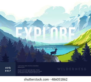 Nature landscape background with silhouettes of mountains and trees. Vector Illustration