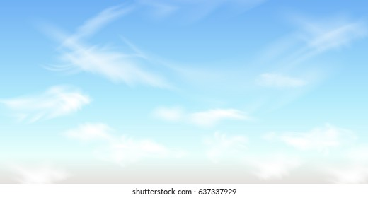 Nature Landscape Background with  sky and Fluffy white Realistic spindrift  clouds. Vector illustration.