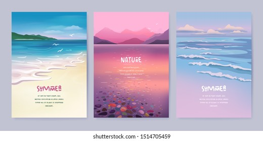 Nature landscape background. Vector illustration of summer beach, lake and mountains