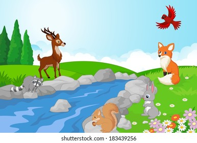 Nature landscape background with wild animals